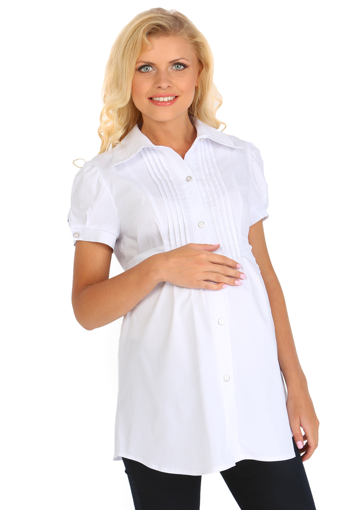 Офисная белая рубашка для беременных 70